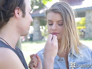 Kissing picked up stud outdoors slutty Asuna Fox wanna ride his cock