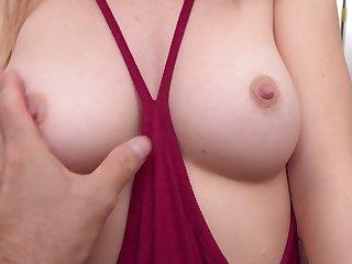 Teen blonde far perky tits loves giving blowjobs