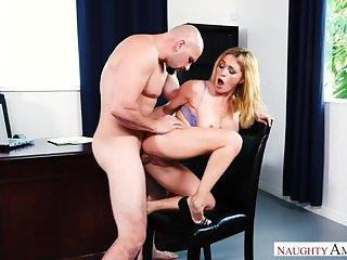 Caucasian Krissy Lynn fucking in the chair alongside her big tits