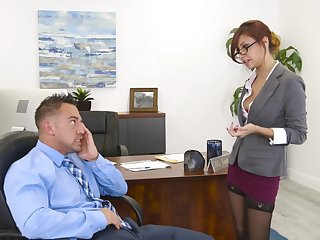Bossy milf Jade Jantzen flashes her panties and seduces young staff member Johnny