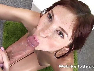 Kinky pallid nympho Kattie Gold desires to give handjob to win cum