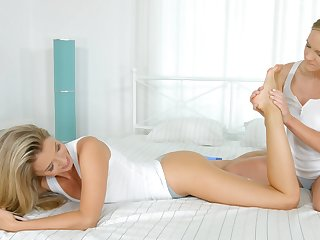 Lesbians tot up massage with oral softcore