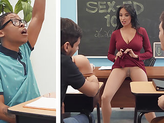 Sumptuous professor shag college unsubtle with BIG BLACK COCK in be transferred to class