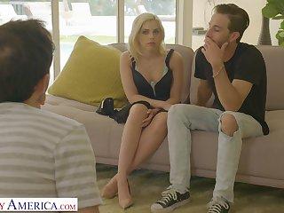 Cum loving blondie Allie Nicole enjoys having their way first MMF 3-way