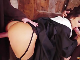 Wild big bottomed nun gives nice head and gets lay on mouthfucked