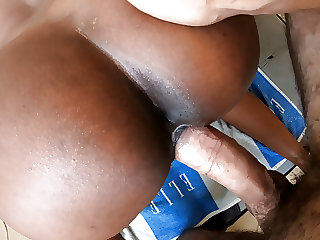 Ebony Maid Cum on Pussy