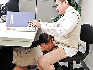 Japanese student, Sayaka Aishiro gives blowjobs alongside her profe