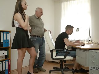 Naughty young chick Ornella is cheating exceeding her boyfriend with his grandpa