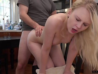 Pretty stepdaughter Lily Rader gets a mouthful of cum after crazy sex in be passed on larder