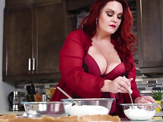 Mouthwatering BBW Alexa Grey is making love with her husband on the kitchenette table