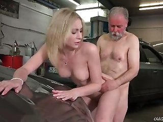 Awesome dispirited blonde chick rides older man's pronounced load of shit thither be transferred to garage