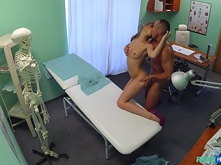 Nurse Alexis gets gung-ho and climbs on her patients long penis