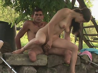 Outdoor sex is unforgettable experience for sexy plus forsaken brunette