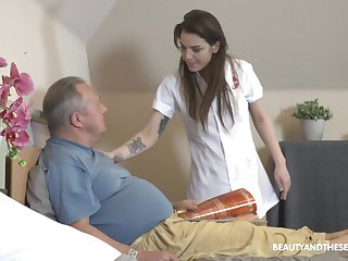 Venerable vs Young porn with irresistible nurse Nana Garnet together with two guys