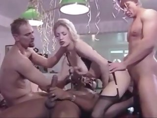 Lovely German stocking blonde has orgy for her 18th overindulge