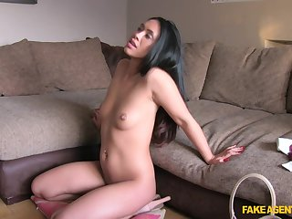 Hannah with error-free natural tits fucked during the job interview