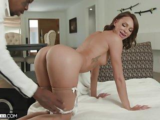 Skulduggery wife Emma Hix upstairs her knees attracting a massive black blarney