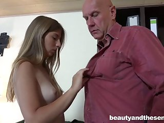 Old dude gives his secretary a raise if she rides his immutable cock