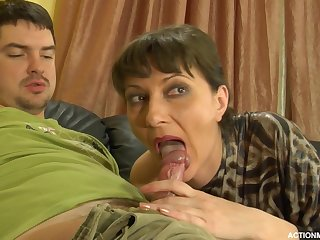A matured woman gets a shag from a young guy