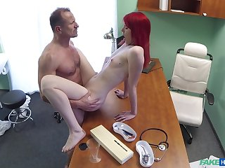 Red-haired slut Anne Swix gets it be intent on her physician