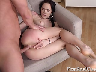 Serious anal makes young amateur brunette not far from moan a lot