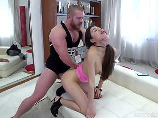 Trollop with rounded booty Anya Krey gives a proper blowjob and takes bushwa near anus