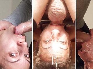 Tiny slut Candy Girl enjoys a dishevelled upside-down throatfuck