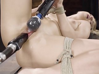 Blonde wholesale is happy in the air repugnance tied and forced in the air cum many times