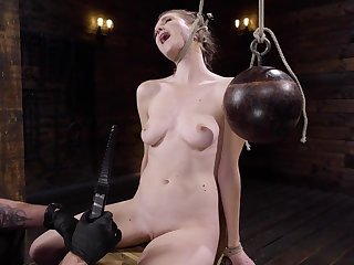 Naked blonde is chair tied and agonizing wide of her master