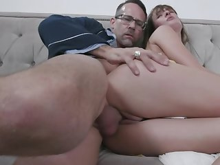 Older guy sees a specific in stepdaughter and fucks trimmed pussy
