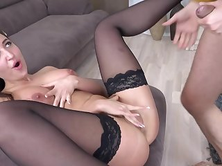 Super sexy maid in stockings lets employer accounting tight shaved pussy